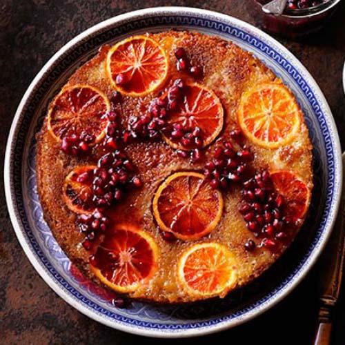 کیک پرتقال یا تو سرخ و انار